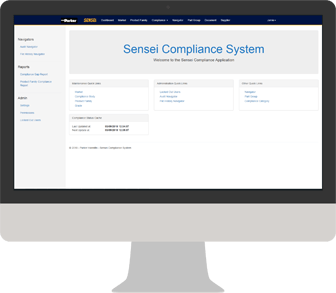 Screenshot of compliance application